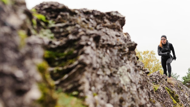 가을 달리기 야외 운동 롱샷