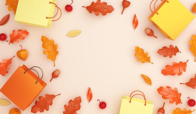 Осенняя распродажа украшение фон с оранжевой сумкой для покупок дубовые листья желудь с копией пространства