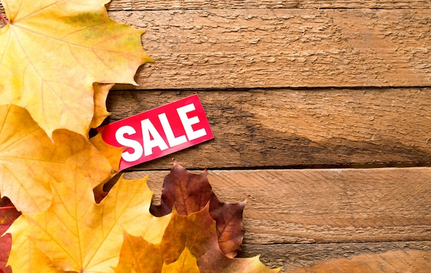 Autumn sale poster of discount for fall seasonal shopping with leaves on whi wooden background with a copy space