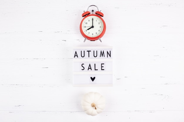 Autumn sale text on lightbox white background