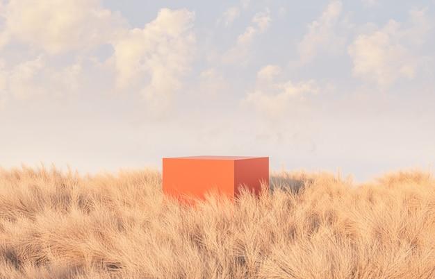 Осенняя сцена с подиумом в поле
