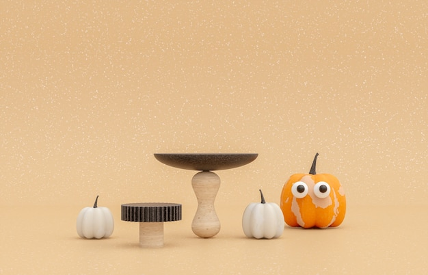 Autumn scene with product stand and pumpkins halloween concept