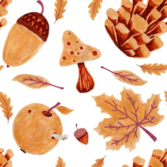 Autumn seamless patern with pumpkin, fall leaves, acorns