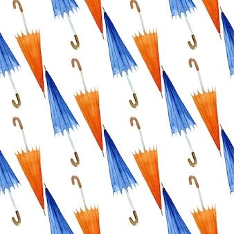 Autumn seamless pattern with umbrellas, watercolor illustration