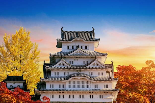 Autumn season and castle in himeji, japan