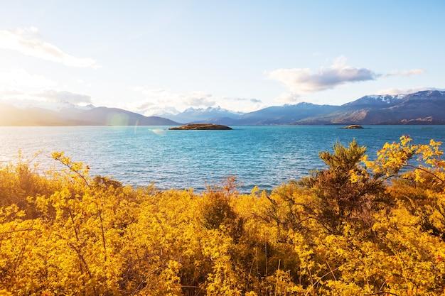 Autumn season in patagonia mountains, south america, argentina