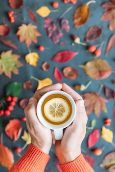 Autumn season.top view on man hand holding cup of hot tea with lemon, autumn leaves, ripe rosehip, hawthorn, rowan berries on grunge background