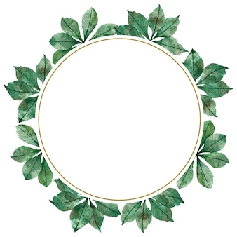 Autumn season watercolor circular frame