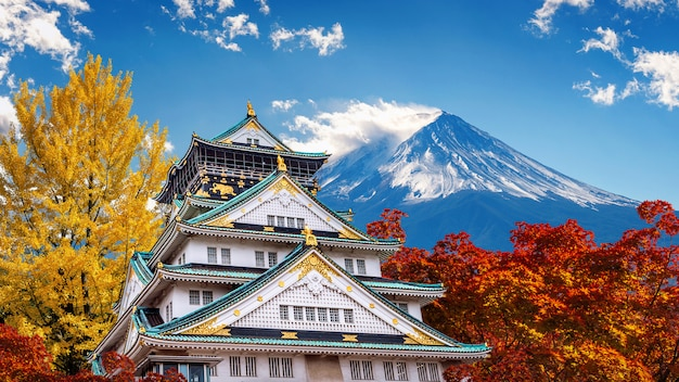 Autumn season with fuji mountain and castle in japan.