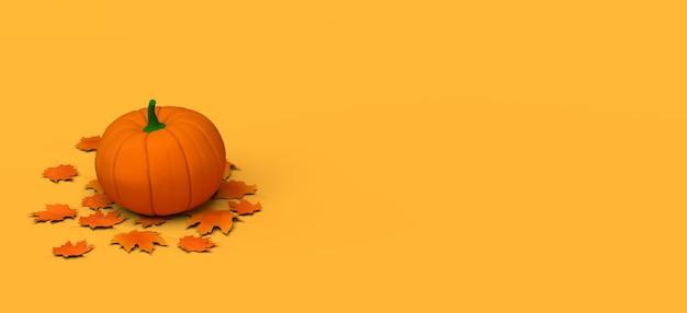 Осенний сезонный баннер с собранной тыквой на сухих листьях. 3d иллюстрации. скопируйте пространство. заголовок.