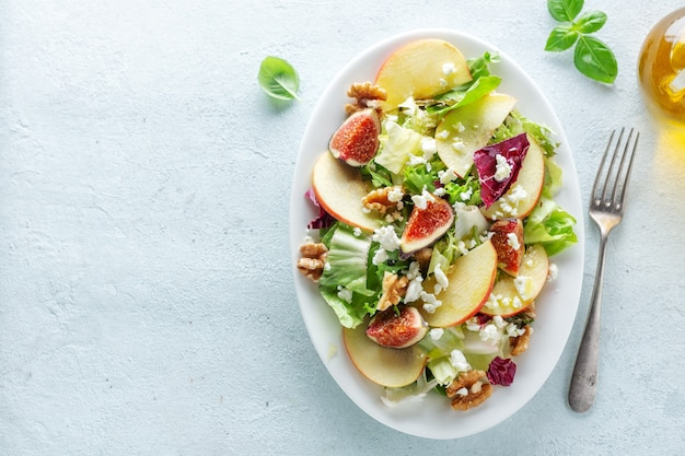 Autumn seasonal salad with apples, figs and cheese served on plate. view from above