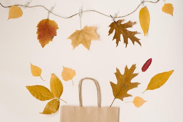 割引で秋の買い物。秋のセール。秋の紅葉が見えるクラフトベージュのペーパーショッピングバッグ。コピースペース。洗濯はさみに掛かっている糸に紅葉