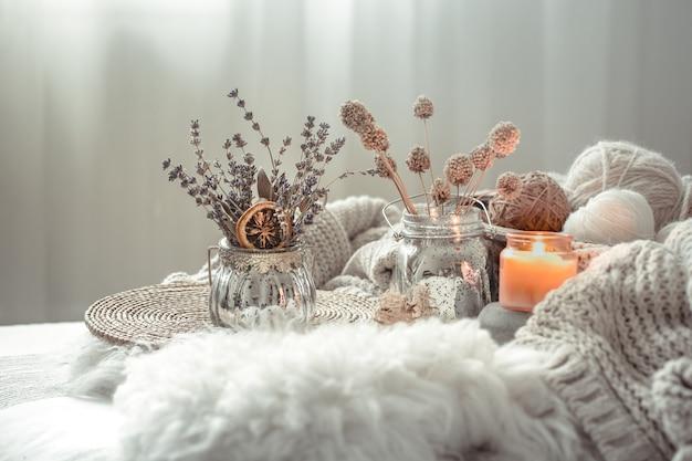 居心地の良い家の秋の静物の家の装飾。