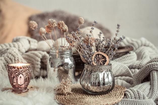 아늑한 집에서 가을 정물 가정 장식.