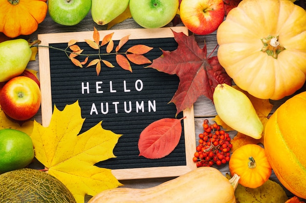 Autumn still life image with pumpkins, ashberry, pears, apples, colorful foliage and letter board with words hello autumn.