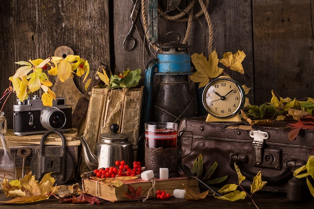 Autumn still life with books, vintage suitcase