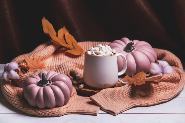 Autumn still life with cocoa mug and marshmallows, pink pumpkins, autumn leaves, knitted sweater
