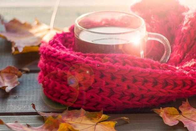 노란색 단풍, 차 한잔과 나무 배경에 따뜻한 붉은 스카프와 함께 가을 정물화