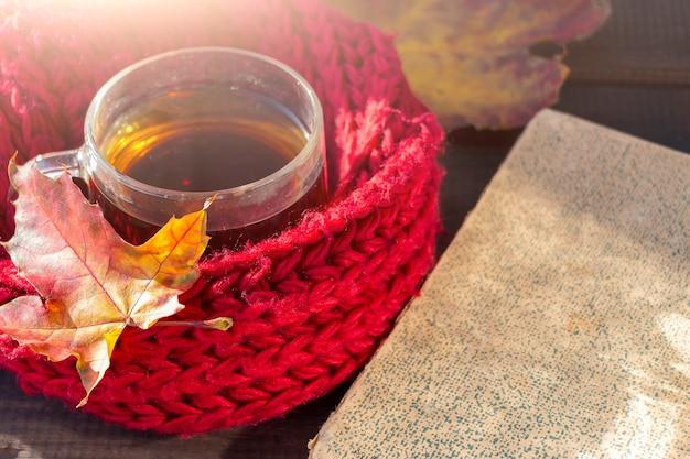 노란색 단풍, 차 한잔, 따뜻한 붉은 스카프와 나무 배경에 오래 된 책 가을 정물화