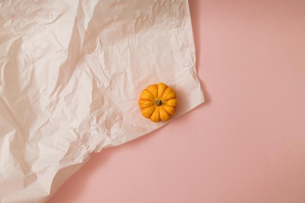 単一のオレンジ色のカボチャと秋の太陽に照らされたピンクと白の背景。フラットレイ収穫またはハロウィーンの概念。カラフルな野菜のクリエイティブなレイアウト。スペースをコピーします。