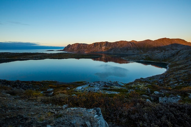 Autumn sunset and landscape in nordkapp. northern norway
