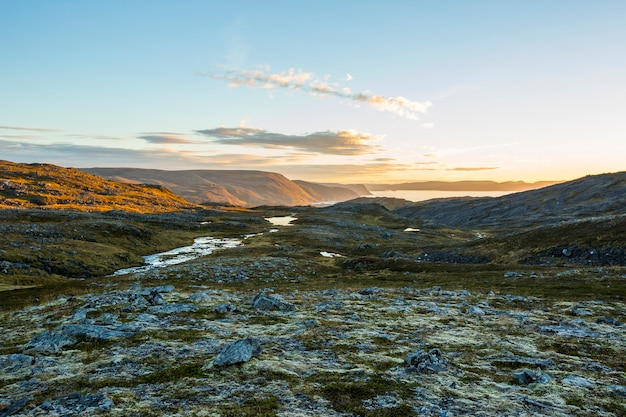 Autumn sunset and landscape in nordkapp. northern norway Premium Photo