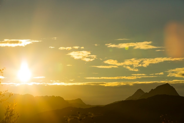 Autumn sunset and landscape in northern norway. europe. Premium Photo