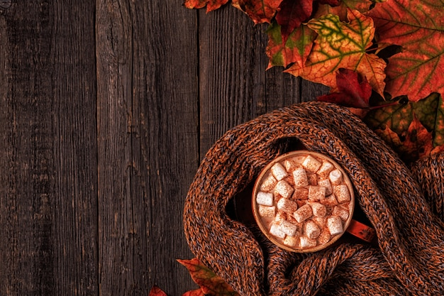 Autumn surface with hot chocolate, knitted scarf, multi-colored leaves