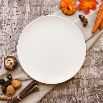 Autumn symbols near plate