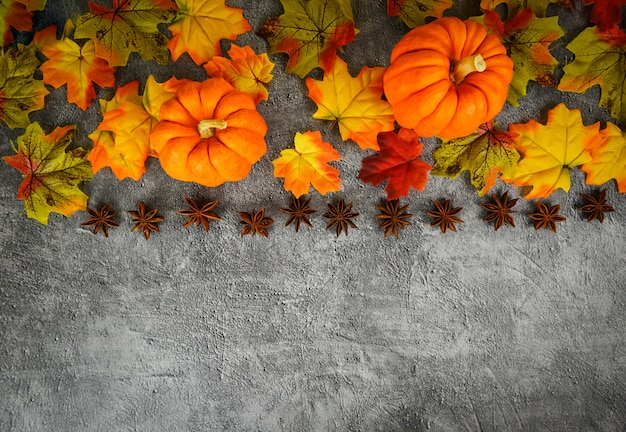 Autumn table setting with pumpkins holiday