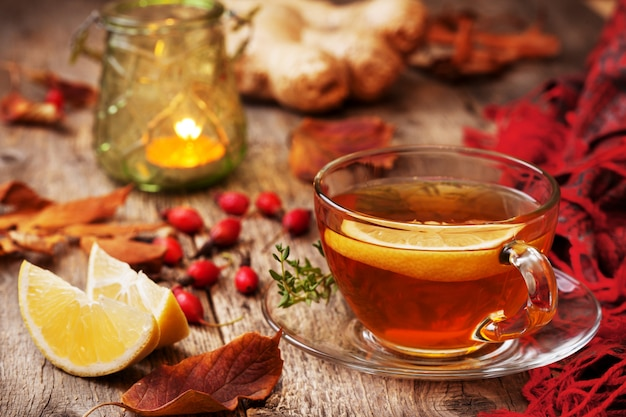 Autumn tea with ginger and lemon
