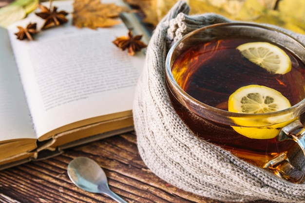 Autumn tea with open book