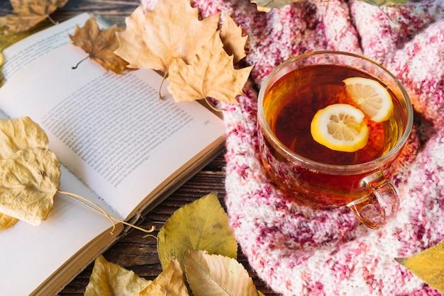 Осенний чай с открытой книгой Бесплатные Фотографии
