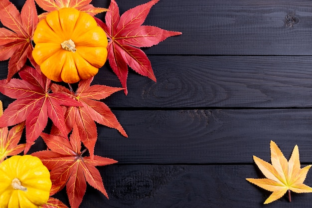 Autumn or thanksgiving background decor from maple leaves and pumpkins on black wooden