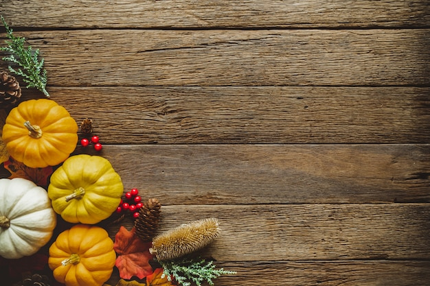 Autumn thanksgiving day background with fallen leaves and fruits