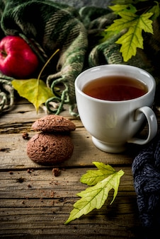 Autumn theme background with plaid and tea cup