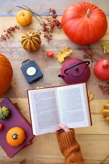 Autumn time. autumn book sreading .