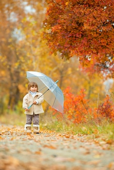 Autumn time, happy little girl is walking along the path with an umbrella in the fall on nature, walking outdoors.