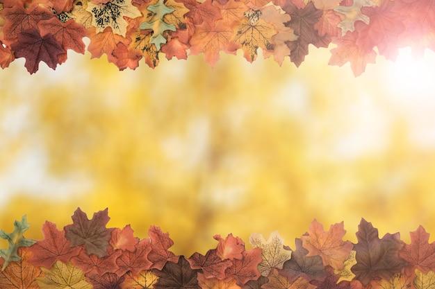 Autumn tree leaves side frame pattern