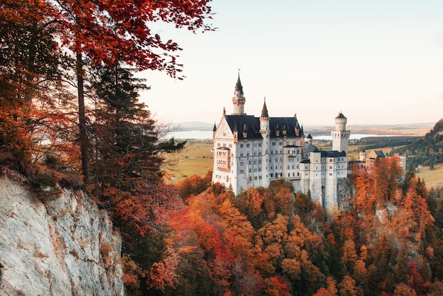 Autumn trees on the hill reveal a view on charming neuschwanstein castle.