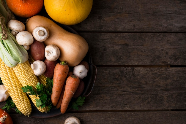Autumn vegetables assortment with copy space