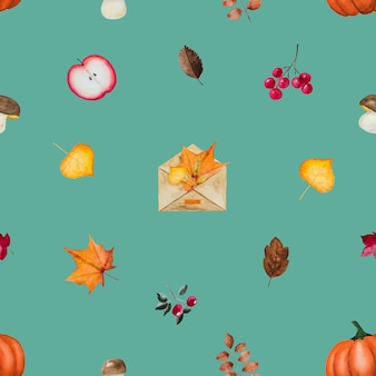 Autumn vegetables and elements pattern