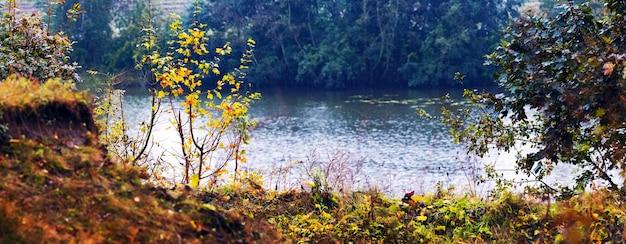Осенний вид со скалы у реки и разноцветных деревьев и кустарников на берегу