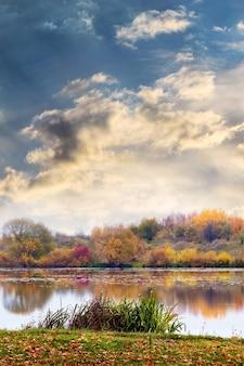 川と海岸の色とりどりの木々のある秋の景色、川のそばの芝生の落ち葉、川の絵のような空に沈む夕日
