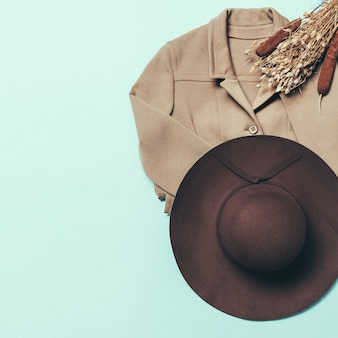 Autumn vintage clothing. hat and jacket.