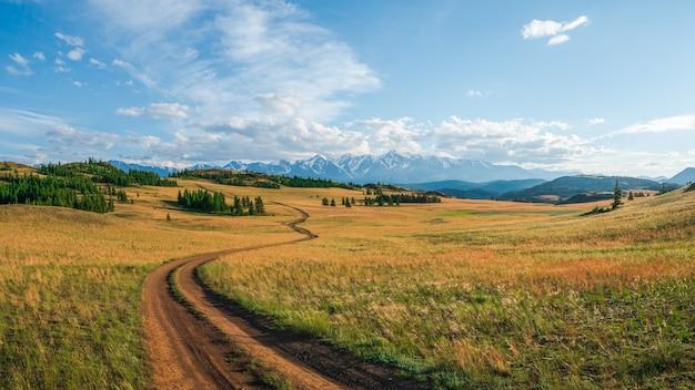 山腹の秋の道。高地の草の間の石の小道と明るいパノラマのミニマリスト高山の風景。