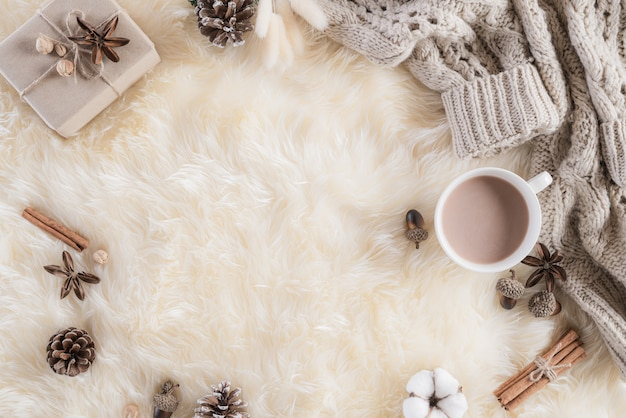 Autumn or winter composition on cream colour fluffy background. flat lay  .