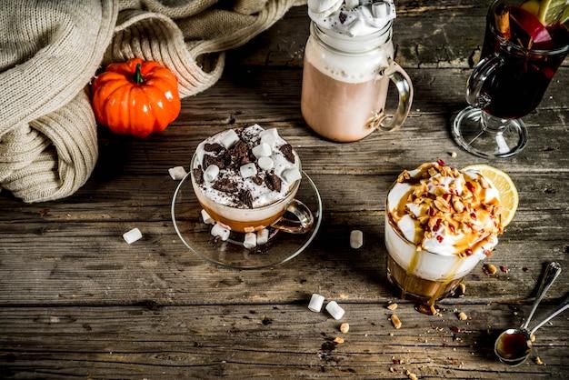 Autumn winter warm drinks, hot chocolate, pumpkin latte, caramel and peanut coffee latte, mulled wine