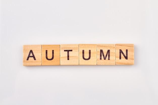 나무 블록에 쓰여진 가을 단어. 흰색 배경에 고립 된 문자로 알파벳 큐브입니다.
