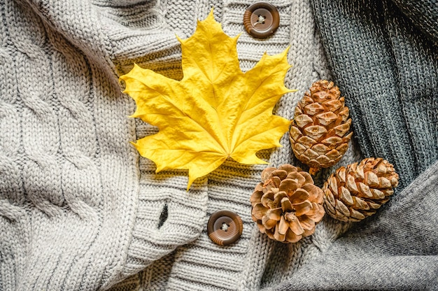 Autumn yellow leaf and three pine cones on the background of knitted sweaters in gray shades